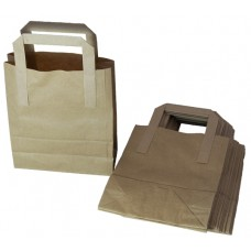 50 x Small Brown Kraft Paper SOS Takeaway Food Carrier Bags 7