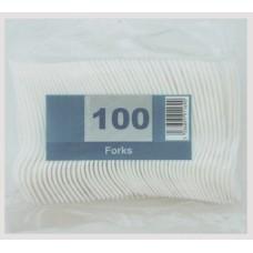 100 x Economy White Disposable Plastic Forks - Light Duty[5056025142312]