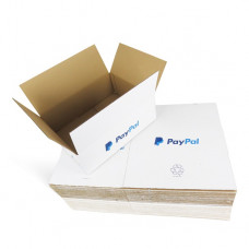 300 x PP6 Maximum Size Royal Mail Small Parcel PayPal Branded White Cardboard Boxes 442x342x145mm[5056207519048]