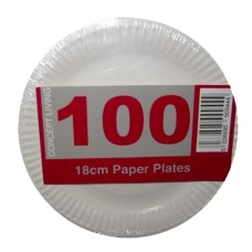 100 x Economy White Disposable Paper Plates 18cm - Light Duty[5056025142183]