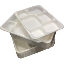 100 x Premium Heavy Duty '6 Compartment' White Disposable Plastic Plates[5056025142114]